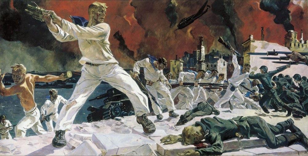 Скинув черные бушлаты, Черноморцы в дни войны…